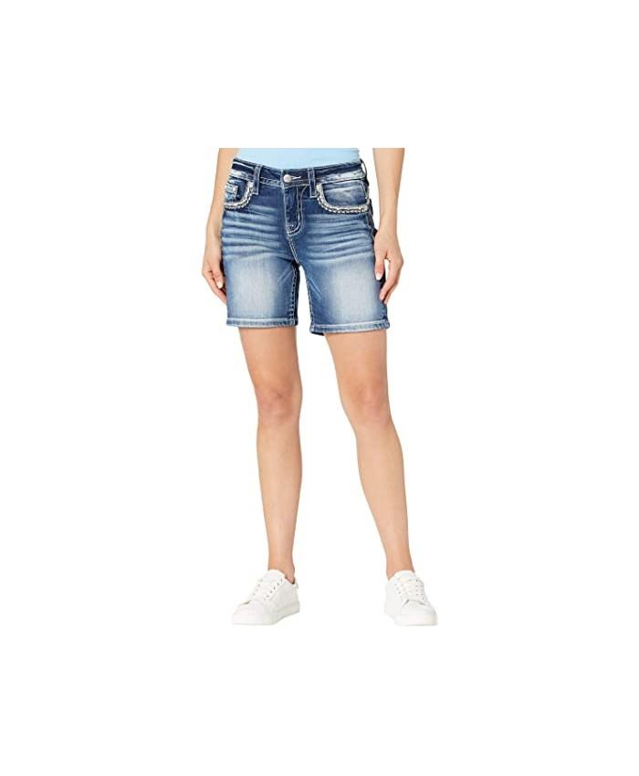 Miss Me Mid-Rise Shorts in Medium Blue