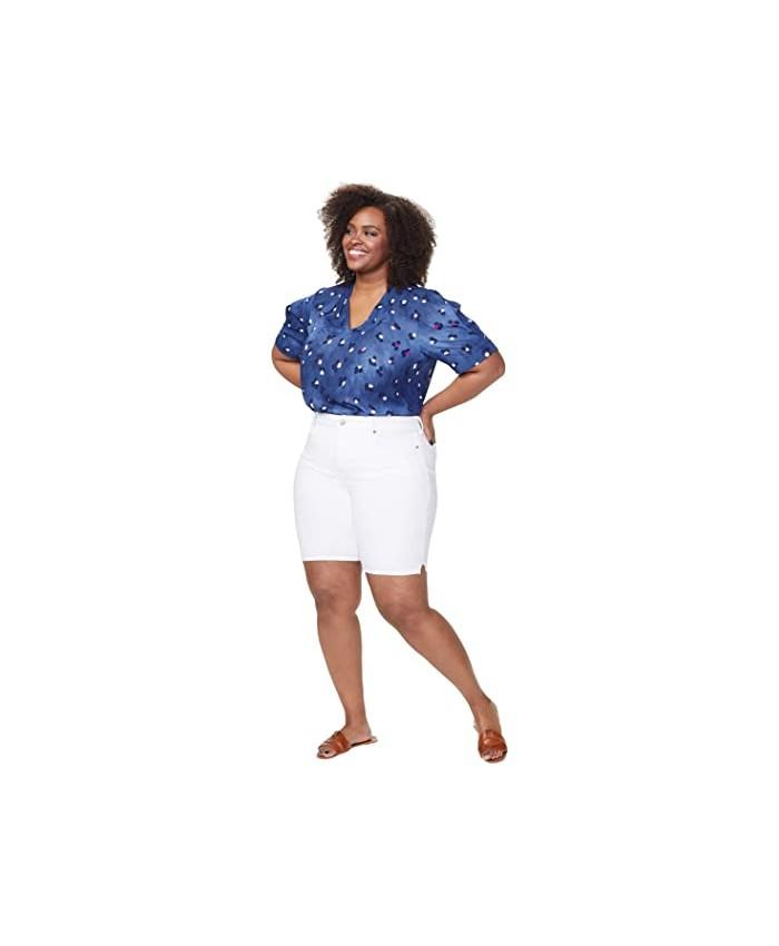 NYDJ Plus Size Plus Size Ella Shorts with Side Slits in Optic White