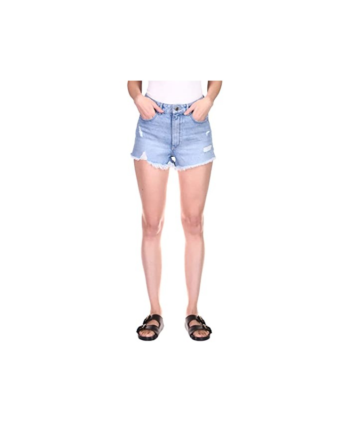 DL1961 Cleo Shorts High-Rise in Lapis Distressed
