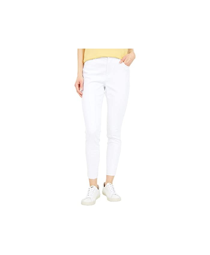 KUT from the Kloth Connie High-Rise Ankle Skinny with Raw Hem in Optic White