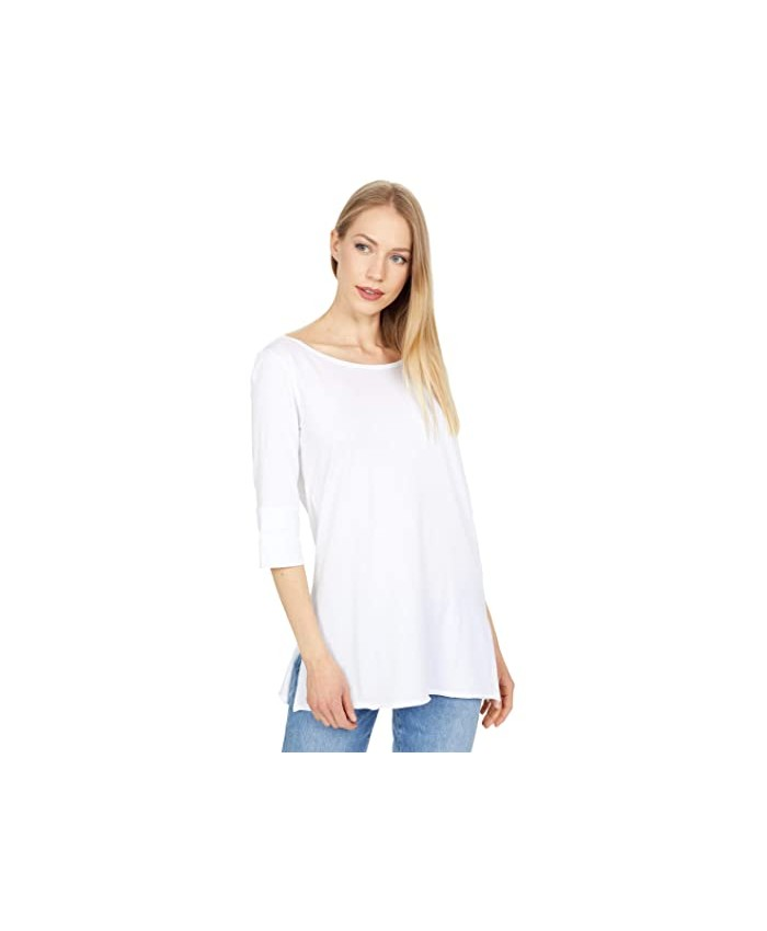 Lilla P Rolled Elbow Sleeve Tunic in Pima Jersey