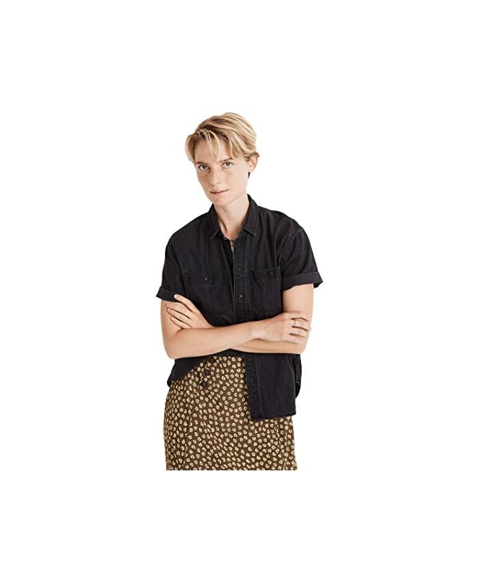 Madewell Denim Short Sleeve Oversized Ex-Boyfriend Shirt in Lunar Wash