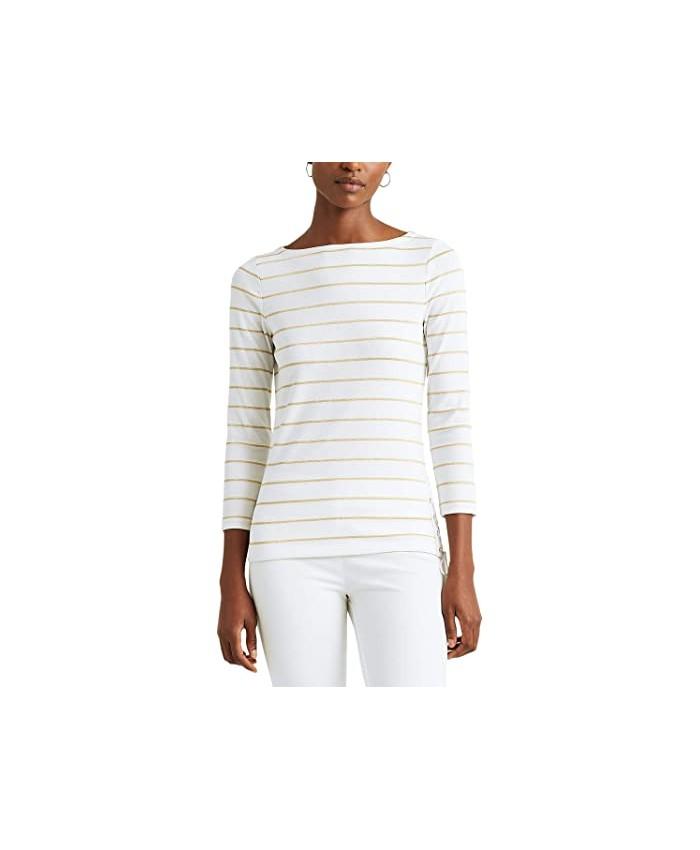 LAUREN Ralph Lauren Metallic Striped Cotton Boatneck Top
