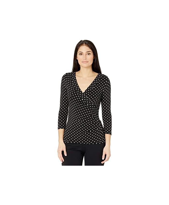 LAUREN Ralph Lauren Petite Polka Dot Wrap Style Jersey Top