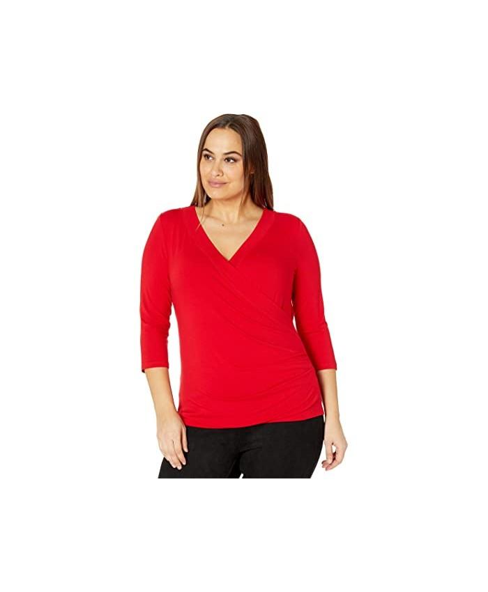 LAUREN Ralph Lauren Plus Size Wrap Style Jersey Top