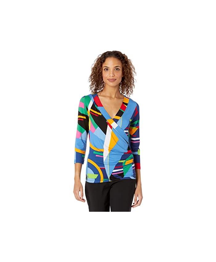 LAUREN Ralph Lauren Print Wrap-Style Jersey Top