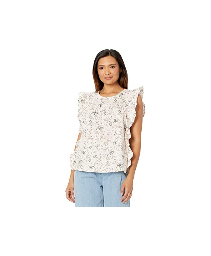 CeCe Printed Ruffled Knit Top
