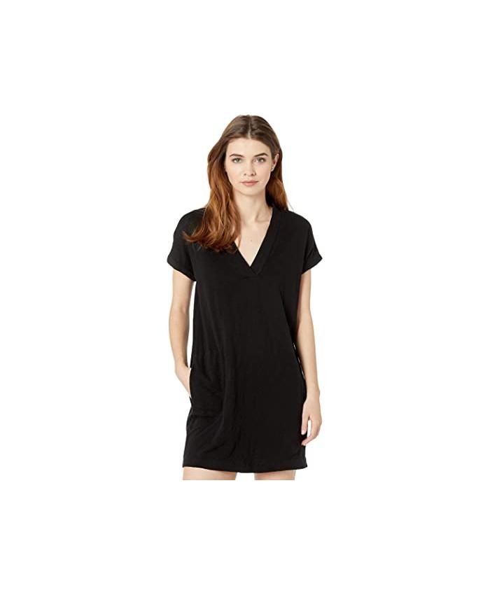 bobi Los Angeles Short Sleeve Dolman V-Neck Dress in Slub Jersey