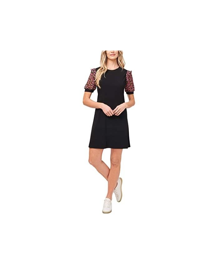 CeCe Puff Sleeve Ditsy Knit Dress