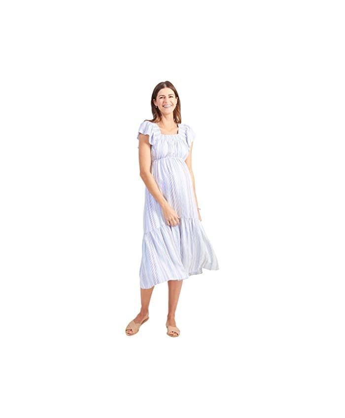Ingrid & Isabel Maternity Flutter Sleeve Tiered Dress