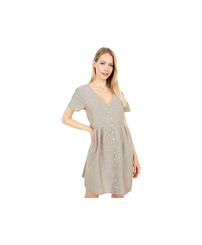 Madewell Linen Blend V-Neck Button-Front Mini Dress