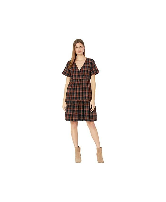 Madewell Plaid Faux-Wrap Short-Sleeve Tiered Mini Dress