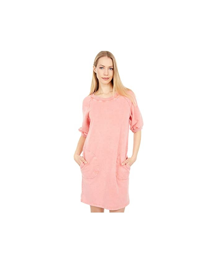Mod-o-doc Washed Cashmere French Terry Short Sleeve Sweatshirt Dress with Side Neck Embroidery