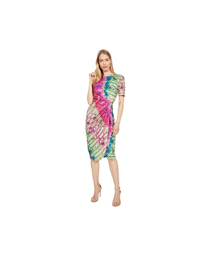 Tahari by ASL Printed Short Sleeve Scuba Crepe Side Knot Dress