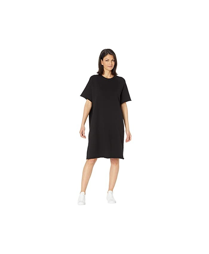 Eileen Fisher Crew Neck Knee Length Dress in Organic Cotton French Terry