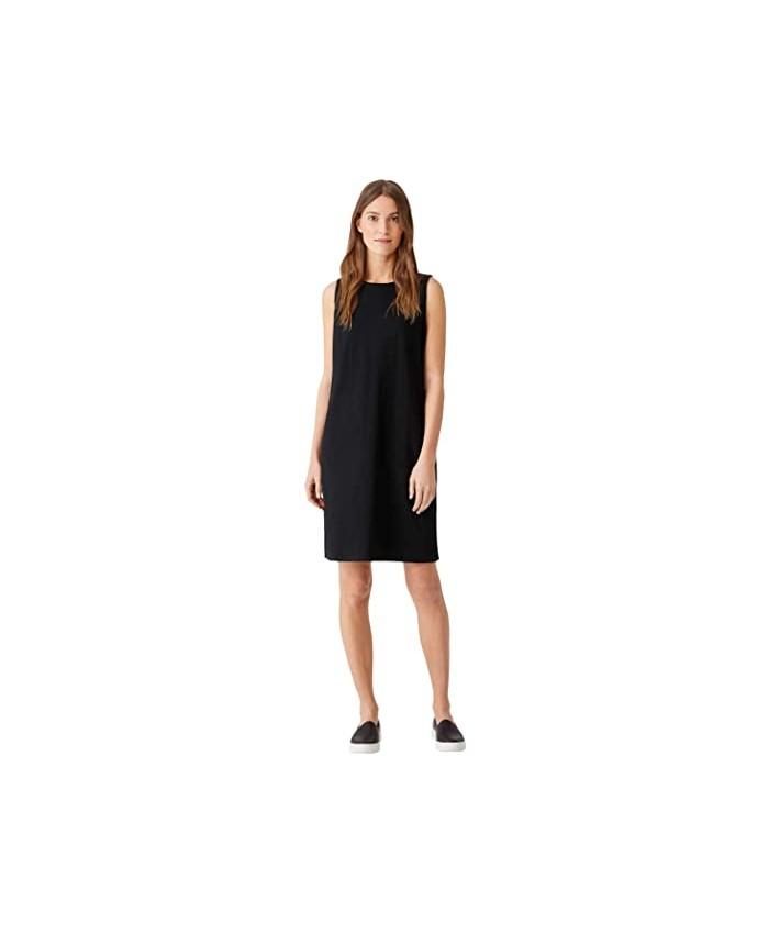 Eileen Fisher Crew Neck Knee Length Tank Dress in Organic Cotton Stretch Jersey