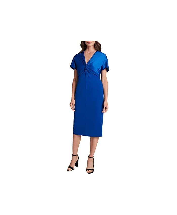 Tahari by ASL Flutter Sleeve Twist Front Stretch Crepe Dress