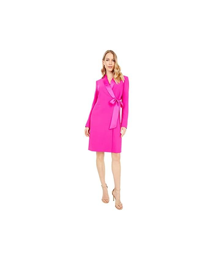 Tahari by ASL Long Sleeve Side Tie Stretch Crepe Coat Dress
