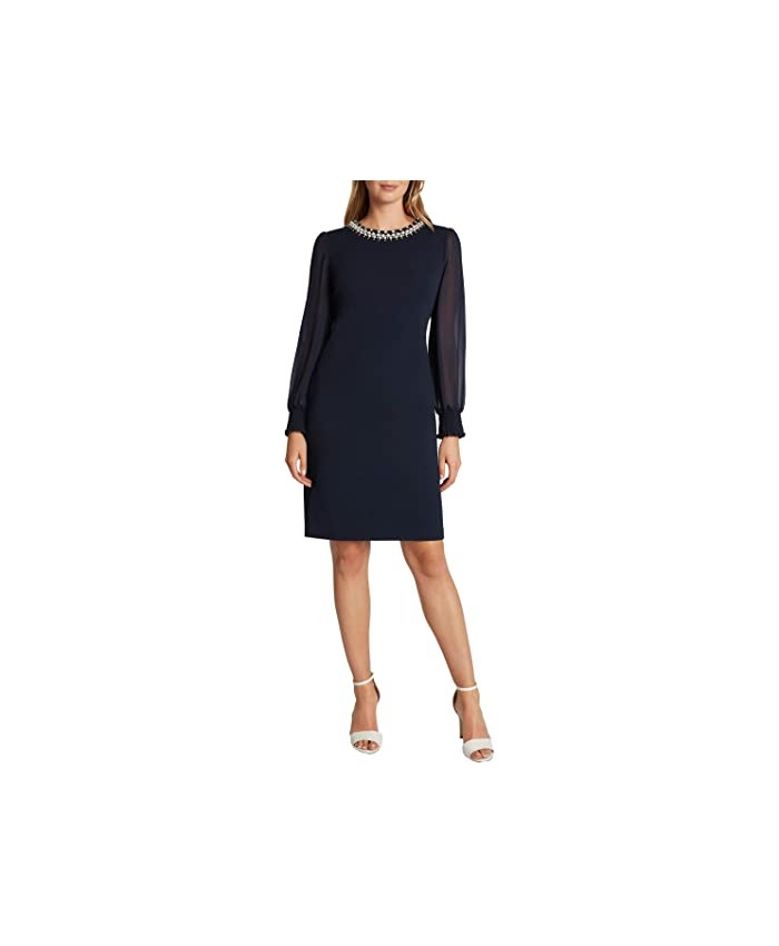 Tahari by ASL Stretch Scuba Crepe Sheath with Pearl Necklace Detail