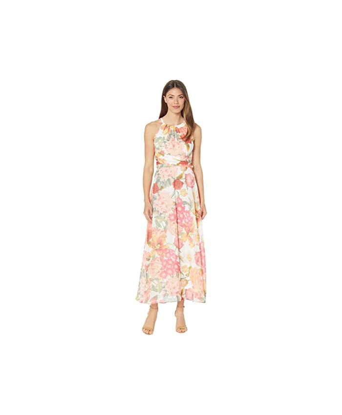 Adrianna Papell Floral Chiffon Pleated Dress