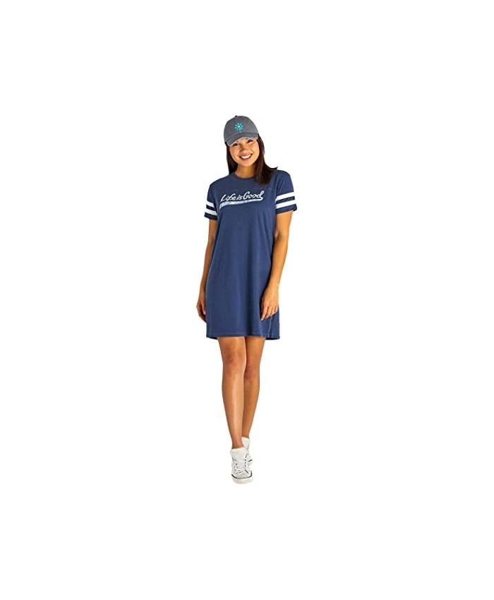 Life is Good Twill Tape Stripes Crusher Tee Dress