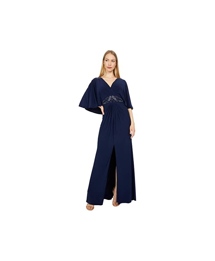Adrianna Papell Jersey Bead Cape Gown