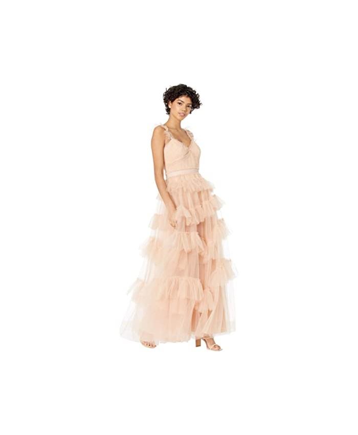 BCBGMAXAZRIA Tulle Ruffle Gown Evening Dress