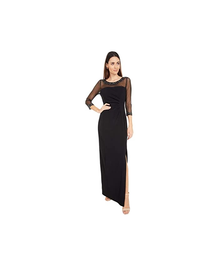 Tahari by ASL Illusion Column Gown with Side Ruched Detail