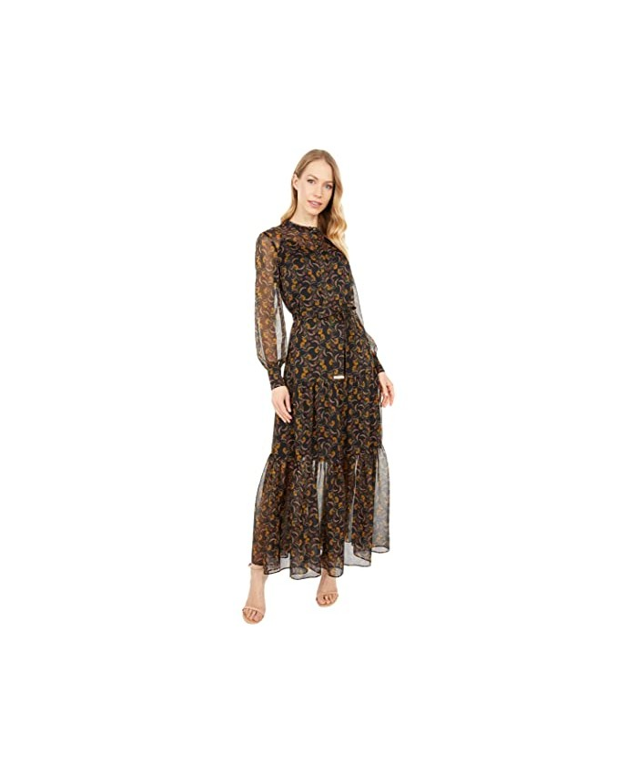 Ted Baker Deco Printed Long Sleeve Maxi Dress